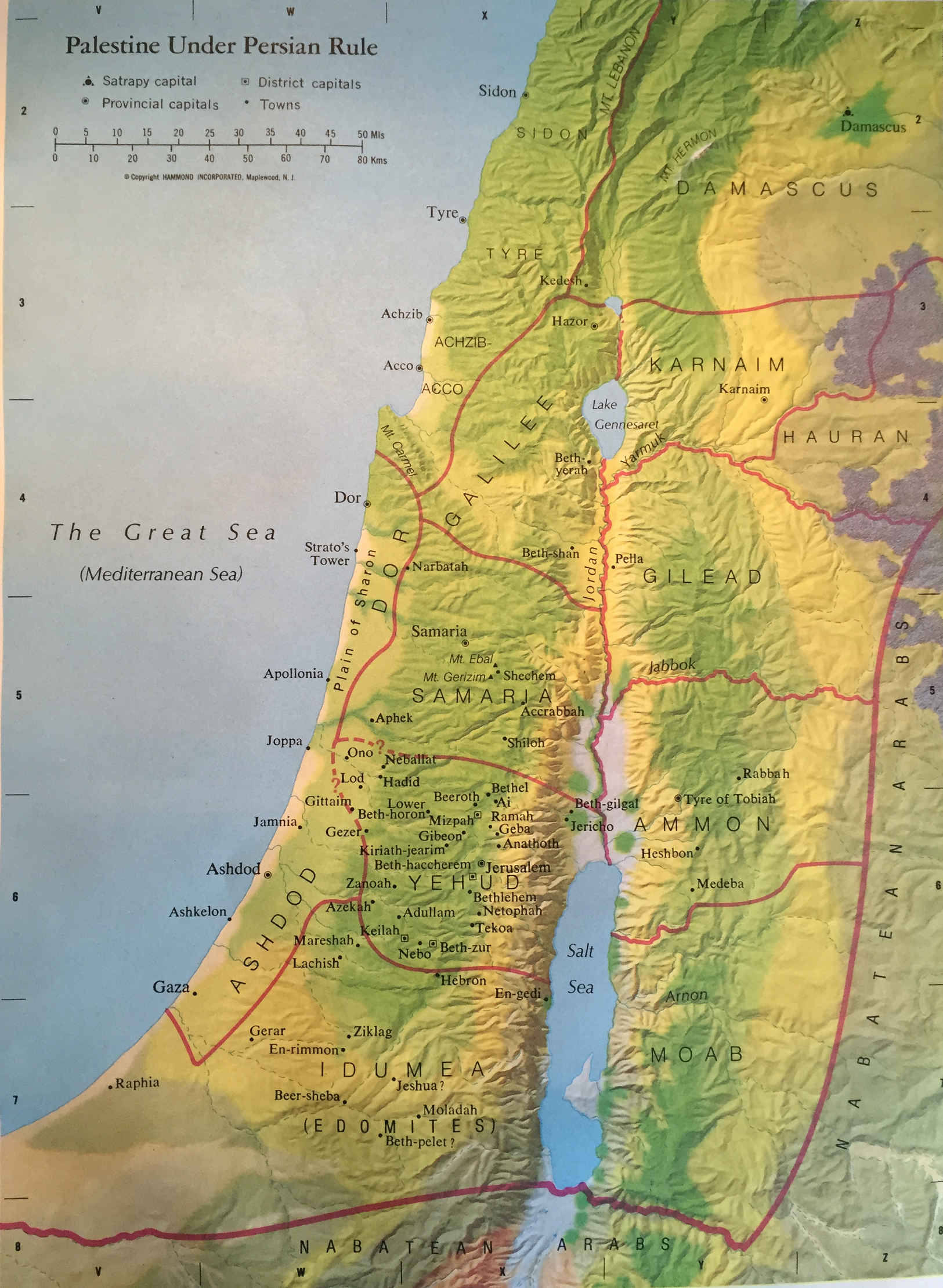 Bible Map: Palestine Under Persian Rule