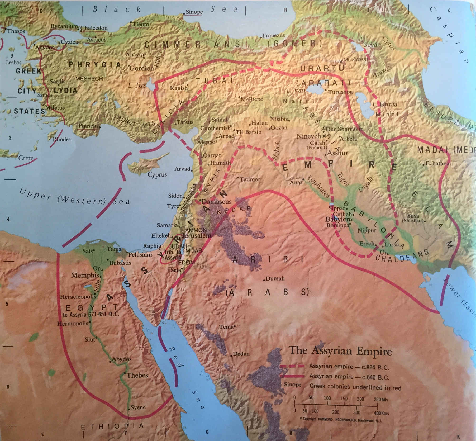 Bible Map: The Assyrian Empire