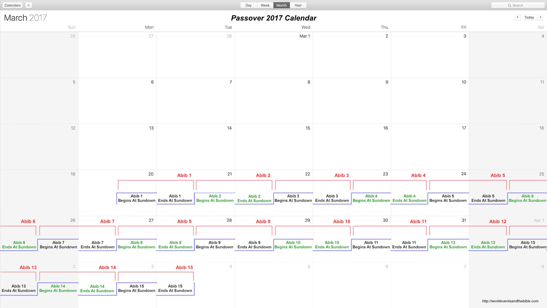 Passover 2017 Calendar
