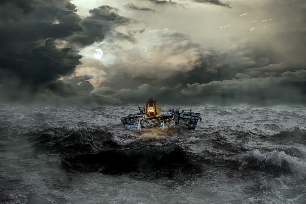 Boat With Lantern Tossed in the Rough Sea