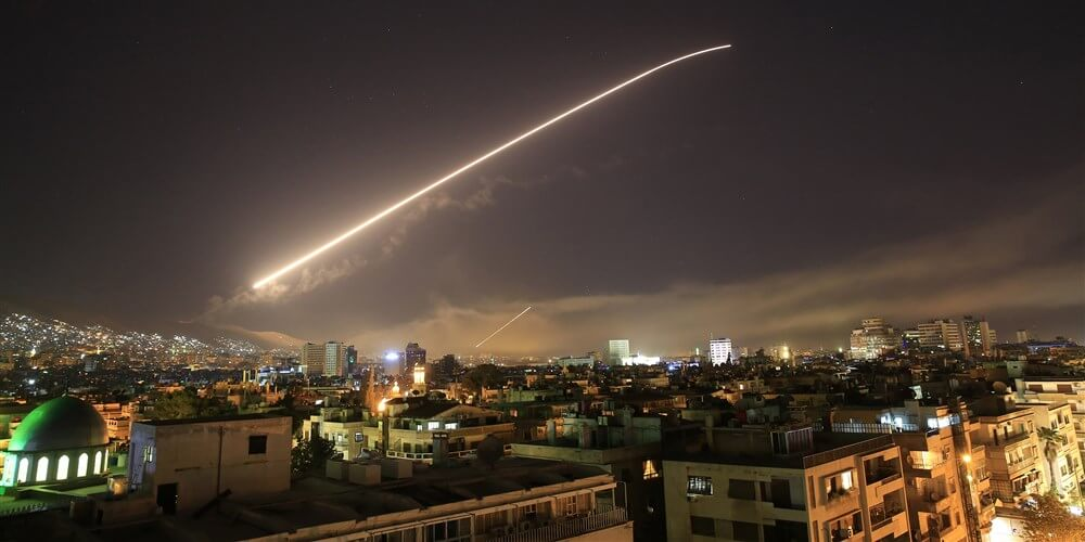 Missile Fire Over Damascus Syria