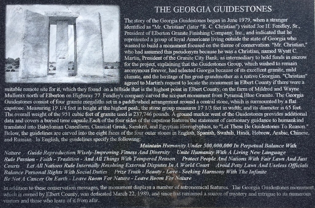 The Georgia Guidestones Text: Black Granite Plaque