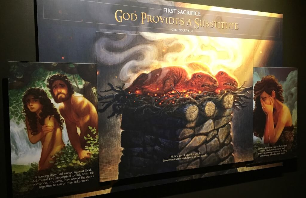 Adam And Eve With Dinosaurs On An Alter - The Ark Encounter