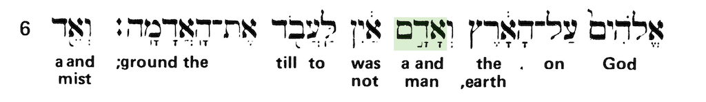 Green's Interlinear Bible - The Word Man from Genesis 2:5 - Short Verse