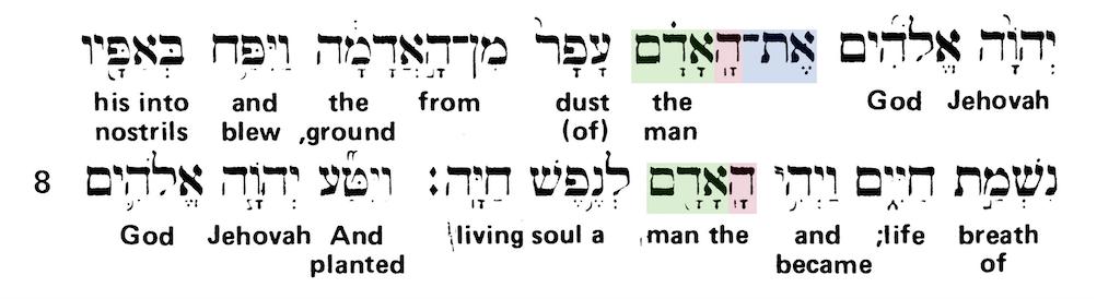 Green's Interlinear Bible - The Word Man Genesis 2:7 - Short Verse