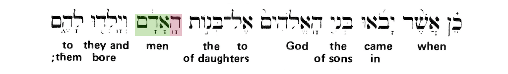 Green's Interlinear Bible - The Word Man from Genesis 6:4 - Short Verse