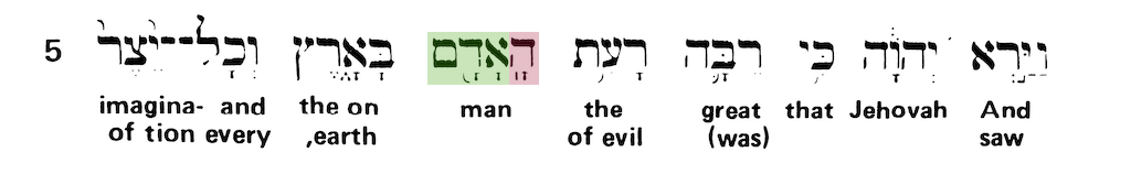Green's Interlinear Bible - The Word Man from Genesis 6:5 - Short Verse