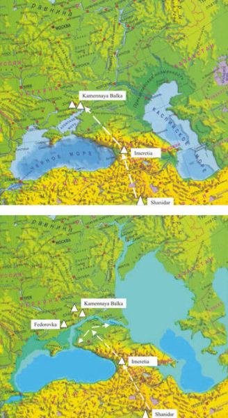 Ancient Glacier Flooding Of Caspian Sea Before And After