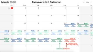 Passover 2020 Calendar