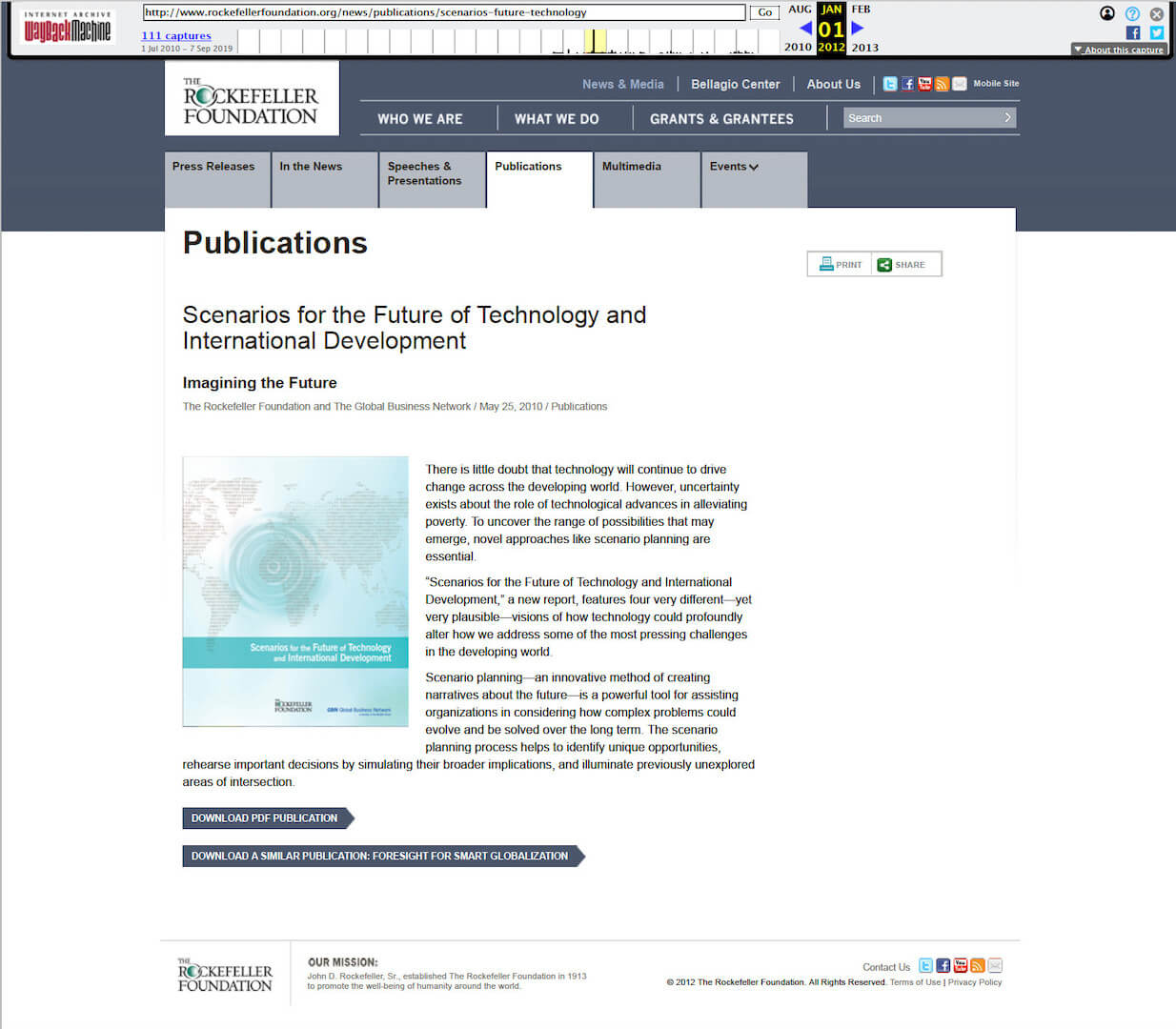 Scenarios For The Future Of Technology And International Development - Internet Archive Screen Shot